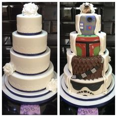 Lace Wedding Cakes Two Sided Reveal Star Wars Wedding Cake - Cake by Sarah Belford - Mrs B Bakes Cakes - Star Wars Wedding Cake, Star Wars Cake, Wedding Cake Decorations, Wedding Cake Designs, Wedding Ideas, Wedding Stuff, Wedding Planning, Wooden Cake Toppers, Disney Cakes