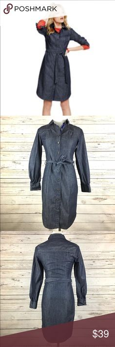 BODEN Denim Shirt Dress Size:  2R Color:  Blue Material:  100% Cotton Lining:  Unlined Closure:  Button Front Details:  Plaid Flip Cuff Care:  Machine Wash All measurements are in inches and taken with garment laying flat.  Not doubled.  Bust:  17 Waist:  14 Hips:  17 Shoulder to Hem:  31  Item:  9561116586 Boden Dresses