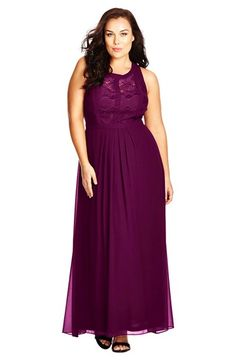 City Chic Paneled Lace Bodice Gown (Plus Size) available at #Nordstrom