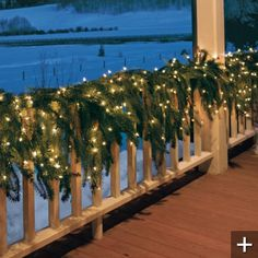 Cascading faux garland. It's about time! http://www.grandinroad.com/martha-stewart-pre-lit-outdoor-flowing-christmas-garland/christmas-decor/wreaths-garlands-greenery/23954?isCrossSell=true&strategy=5