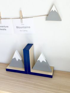 Mountain Bookends Navy Gray White Off to the by MapleShadeKids