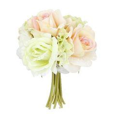 Artificial 18cm Silk Rose Bridal Bridesmaid Flower Bouquet White Champagne