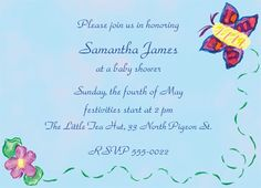 """Butterfly Flight Invitation, 6 3/4"""" x 4 7/8"""", full color as shown.  $26.00 for 16 invitations."""