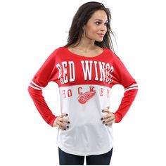 Women's Detroit Red Wings 5th & Ocean by New Era White/Red Long Sleeve Varsity T-Shirt