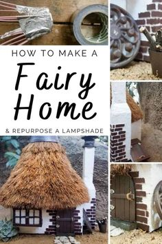 How to thatch a fairy roof and make the cutest fairy house ever using an old lamp shade #recycle #ThatchRoofDIY #ACraftyMix #Repurpose #fairygarden #lampshade Old Lamp Shades, Plastic Flower Pots, Cute Fairy, Old Lamps, Thatched Roof, Cottage Style Homes, Garden Lamps, Fairy Houses, Weekend Is Over