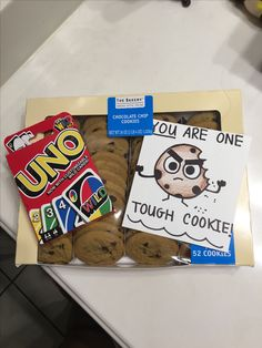 """Get well soon gift idea """"one tough cookie """" uno cards & cookies"""