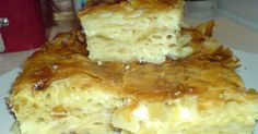 Afrate Macaroni Pie with Feta Sweets Recipes, Pasta Recipes, Cooking Recipes, Baked Pasta Dishes, Greek Cookies, Greek Recipes, Different Recipes, Food For Thought, Food To Make