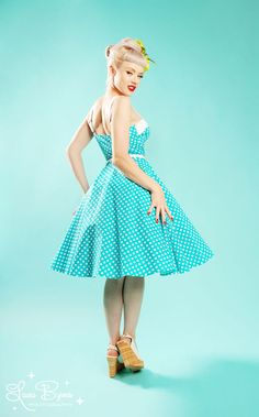 Netti Dress by Pinup Couture in Blue and White Polka Dots $92