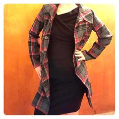 Long plaid jacket Gray, black, red plaid jacket with black lining. Very versatile, Great fall jacket to wear over dresses and skirts, leggings or jeans. Estar Jackets & Coats