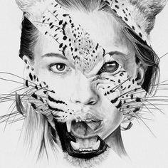 Animal instinct (By: Chamo San) # Art Sketches, Art Drawings, Animal Drawings, Metamorphosis Art, Desenho Tattoo, A Level Art, Gcse Art, Texture Art, Art Plastique