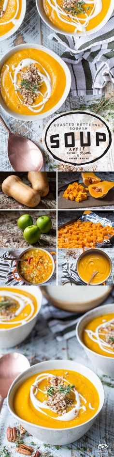 Roasted Butternut Squash and Apple Soup with Thyme, Pecans, and Creme Fraiche - A healthy recipe thats great for dinner or as an appetizer.