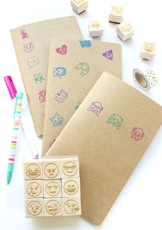 DIY Emoji-Stamped Notebooks