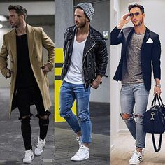 All love for these looks but out of all 3, I must say number one certainly has the right place the long line overcoat in tan with the black destroyed slacked skinnies and the Adidas originals are just bah-liss  elegant and urban, but most of all simple.