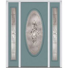 Milliken Millwork 60 in. x 80 in. Heirloom Master Decorative Glass Full Oval Lite Painted Majestic Steel Prehung Front Door with Sidelites