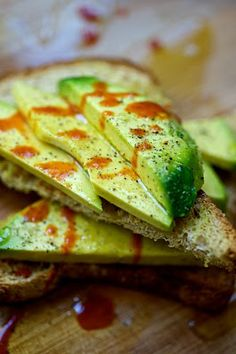 Avocado Toast, olive oil, pepper, salt, and hot sauce- Oh that sounds good!!