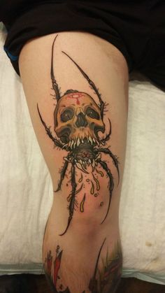 Skull and Spider Tattoo Designs