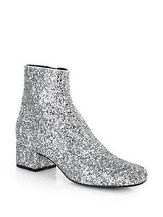 Saint Laurent Glitter Leather Ankle Boots