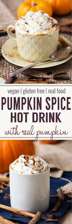 Hot Pumpkin Spice Drink (GF, Vegan and Dairy-Free Option) Hot Pumpkin Spice Drink – made with real pumpkins! Gluten-free with vegan and dairy-free options. Make this drink recipe this fall. A warm drink that is also a coffee alternative. Pumpkin Recipes, Fall Recipes, Holiday Recipes, Real Food Recipes, Vegan Recipes, Barley Recipes, Vegan Ideas, Baking Recipes, Brunch Recipes