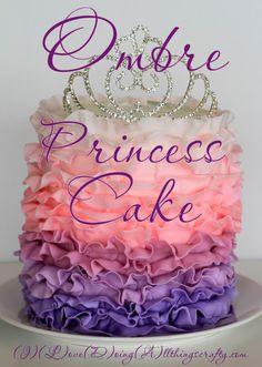Pink to Purple Ombré Princess Cake