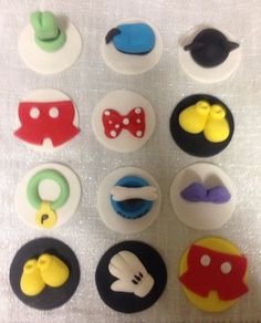 12 Fondant Mickey Mouse clubhouse cupcake toppers by LuliSweetShop