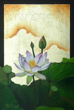 Lotus Jewel by Troy Carney Lotus Kunst, Lotus Art, Tibetan Art, Lotus Design, Chinese Painting, Painting Techniques, Gallery, Lotus Flowers, Troy