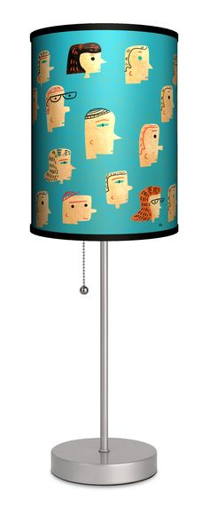 "Artist James Yang ""Faces"" 20"" H Table Lamp with Drum Shade"