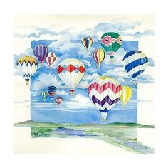Absorbastone Coasters Set of 4 Drink Coasters SKYWARD BOUND Hot Air Balloons 139