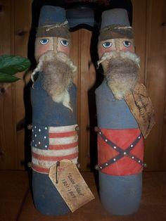 Primitive YANKEE and REBEL CIVIL WAR SOLDIERS Americana Dolls picclick.com