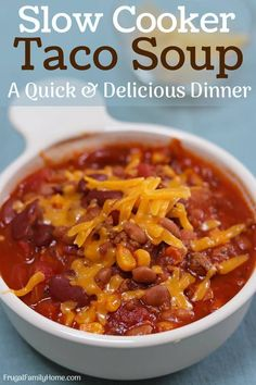 Get dinner done fast, this slow cooker taco soup recipe has great flavor and is easy to make. It's perfect for a busy weeknight dinner. Slow Cooker Tacos, Slow Cooker Recipes, Crockpot Recipes, Soup Recipes, Cooking Recipes, Slow Cooking, Paleo Recipes, Cheddar, Quick Recipe Videos