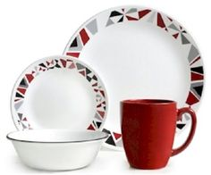 Mosaic Red Dinnerware 16 PC Service For 4 Dining Table Dishwasher Safe Plates  #Corelle1