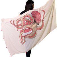 Octopus Scarf Fashion Shawl Pink Pom Pom Trim