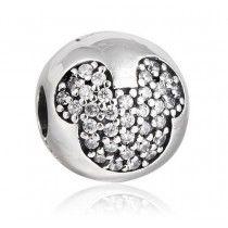 Charm Berloque Europeu Prata de Lei 925 Clip Pave Mickey Mouse Disney #MargoBonita #Berloque #Charm #Pingente #Disney #Mickey