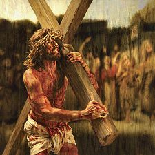 Stations of the cross Day Jesus carries His Cross Jesus Christ Painting, Jesus Art, God Jesus, Jesus Carrying Cross, Passion Of Christ Images, Jesus Suffering, Jesus Drawings, Image Jesus, Jesus Photo