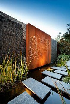 Examples of modern garden design of slabs of wood Deokration pond