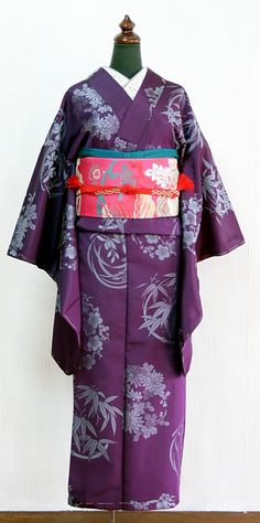 """from """"himenorumi.net"""" one of the most favorite antique kimono shop. Pattern of Orchid, Bamboo, Chrysanthemum and Plum blossoms is in the fabric of this kimono. In China these four flowers have been called """"Shikunshi"""" from ancient era. """"Shikunshi"""" means """"Four Kings"""", and that is to say, these flowers are thought as king of flowers."""