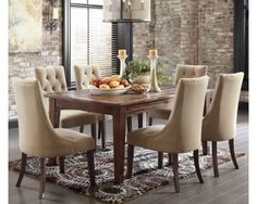Rustic Dining Table and Button Tufted Side Chairs