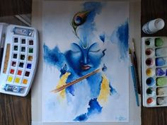 "Aquarelando Lord Krishna ""Seed Painting"" - YouTube Krishna Painting, Krishna Art, Krishna Images, Lord Krishna, Art Sketches, Art Drawings, Pencil Drawings, Hare Rama Hare Krishna, Indian Folk Art"