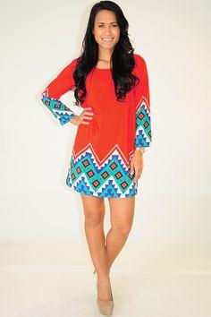 Make My Point Dress: Red/Multi