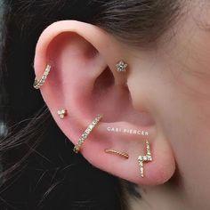Small Silver Hoop Earrings, A Set of Sterling Silver Hoop Earrings, Multiple Piercing Hoops, - Custom Jewelry Ideas Ear Peircings, Cute Ear Piercings, Body Piercings, Piercing Tattoo, Helix Piercings, Silver Ear Cuff, Bar Stud Earrings, Ear Jewelry, Jewellery
