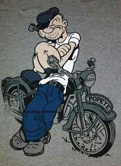 """Popeye"" was not a Merchant Seaman; he was a USN Sailor. He clearly states so in American English, ""I'm Popeye the Sailor man. Motorcycle Posters, Motorcycle Art, Bike Art, Cartoon Kunst, Cartoon Art, Classic Cartoon Characters, Graffiti, Popeye The Sailor Man, Comic Art"