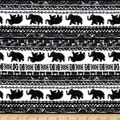 Cotton Lycra Jersey Knit Bohemeian Elephant Black/White from @fabricdotcom  This stretchy cotton jersey knit fabric features a smooth hand and 25% four way stretch for added comfort and ease. It is perfect for making t-shirts, loungewear, yoga pants and more!