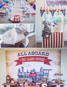 Vintage train birthday party theme Kids Boys Red Blue