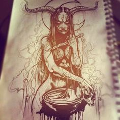 pin: / by Grindesign Creepy Drawings, Dark Art Drawings, Tattoo Design Drawings, Tattoo Sketches, Art Sketches, Tattoo Designs, Tattoo Ideas, Satanic Tattoos, Evil Tattoos