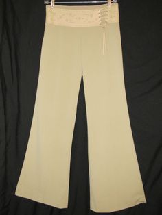 "Sz 2 BSL Industry Dress Pants Tan Cutout Lace Waistband 31"" Inseam NWT $226. Org #BSLIndustry #DressPants"