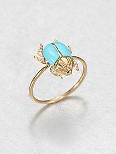 Diamon & Turquoise Beetle Ring $1080
