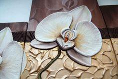 """Купить Объемная фреска """"Девять белых орхидей"""" - золотой, кофейный, белый, модульная картина"""