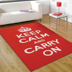 lovely rug!   Keep-Calm-And-Carry-On-Rug