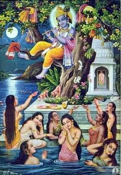 Krishna puts the Gopis' clothes on tree tops while they bathe in the Yamuna River.