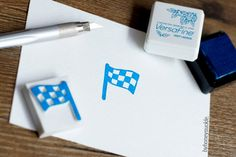 byhoneysuckle. hand carved rubber stamp finishing flag winning.car racing.black and white.checks.plaids.banner.signal.champion.final