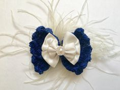 Spring Navy and White Rosette Feather Fascinator Bow from my Etsy shop https://www.etsy.com/listing/271589101/ivory-navy-rossette-bow-feather